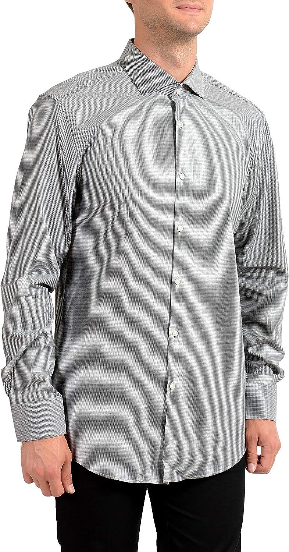 Hugo Boss Men's Jason Slim Fit Long Sleeve Dress Shirt US 16.5 IT 42 Black/White