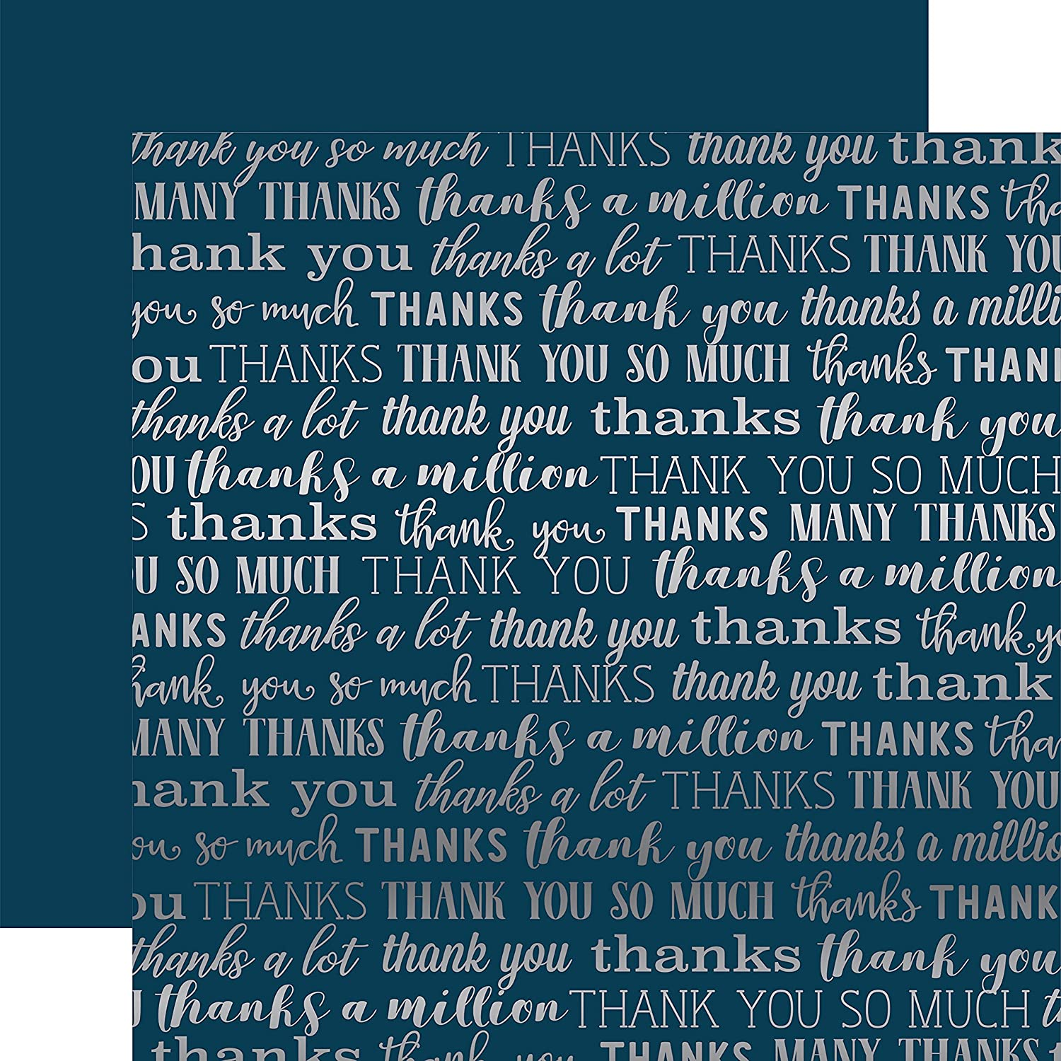 Echo Park Carta Bella Many Thanks Foiled Double-Sided Cardstock 12  -Navy W Silber B07BXS3RBR   | Online