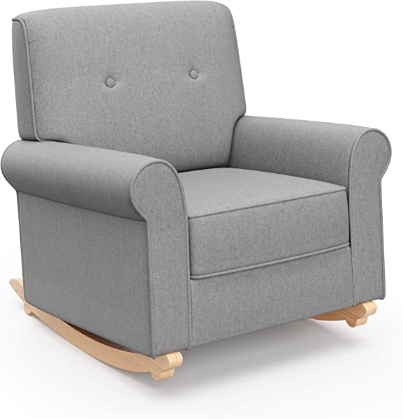 Graco Harper Tufted Rocker Horizon Gray Cleanable Upholstered Nursery Rocking Chair Converts To Stationary Armchair