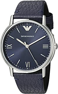 Emporio Armani Men's Kappa Stainless Steel Analog-Quartz Watch with Leather Calfskin Strap, Blue, 14 (Model: AR11012)