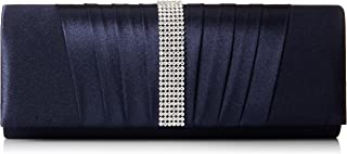 Womens Pleated Satin Crystal Fashion Clutch Evening Bag