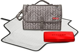 Skip Hop Pronto Signature Portable Changing Mat, Cushioned Diaper Changing Pad with Built-in Pillow, Grey Feather
