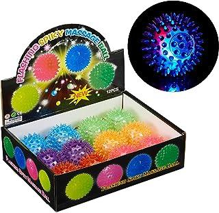 Relaxdays 10024328 Lot de 12 balles de hérisson à LED avec picots Couleurs assorties Ø 6,5 cm
