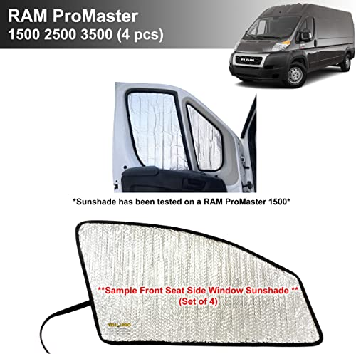 new arrival YelloPro Custom Fit Automotive Front online sale Seat Side Window Sunshade for 2014 2015 2016 2017 2018 2019 2020 2021 Dodge RAM ProMaster Full Size online sale Cargo Van Chassis Cab Cutaway Window Van (4pcs) outlet online sale