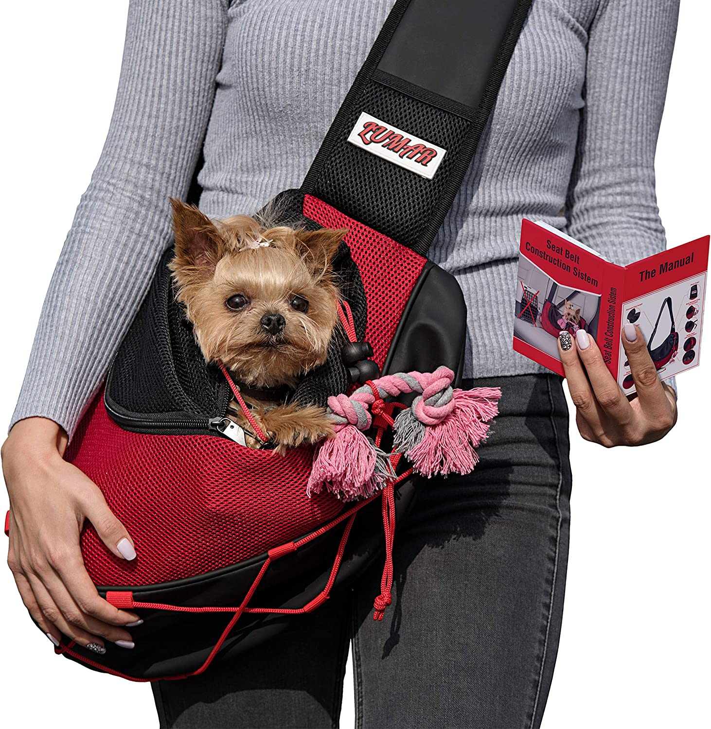 Lumar Pet Sling Carrier for Dogs and Cats Hands Free, Adjustable Size and Adaptable System for the Seatbelt Safety in the Car Toy Bonus for Traveling with the Small and Medium Dogs +9LB Without Stress