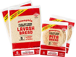 Joseph's 4-Pack Value Variety Bundle, Flax Oat Bran Whole Wheat Lavash Bread (8 Squares Total) and Pita Bread (12 Loaves Total)