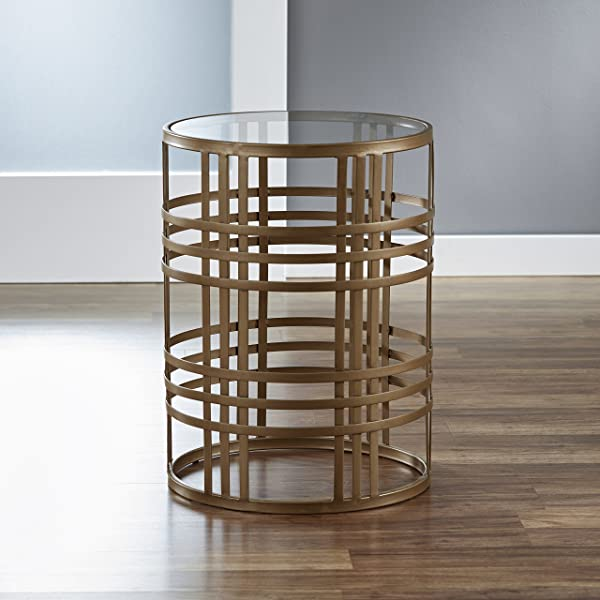 FirsTime Co BTGWVE Weave Side Table 22H X 16 75 W X 16 75 D Antique Gold