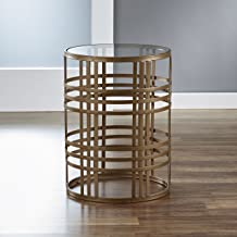FirsTime & Co. Weave Side Table, 22H x 16.75 W x 16.75 D, Antique Gold