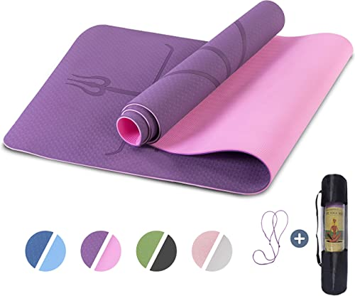 Yoga Mat Non Slip, Pilates Fitness Mats with Alignment Marks, Eco Friendly, Anti-Tear Yoga Mats for Women, Exercise M...