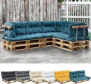 [en.casa] 1x Coussin de siège pour canapé d'euro Palette [Turquoise] Coussins de palettes in/Outdoor Rembourrage Meuble