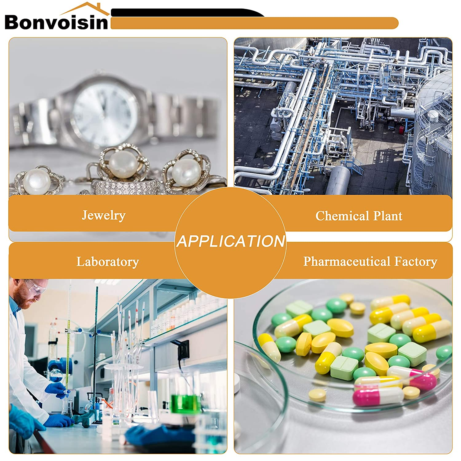 300g, 0.001g Bonvoisin Analytical Balance 300gx1mg Precision Lab Scale Digital Electronic Scale 1mg Laboratory Analytical Scale LCD Display Scientific Scale with Windshield
