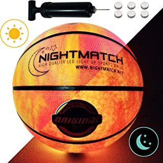 NIGHTMATCH Light Up Basketball - Marble Edition - INCL. BALL PUMP and SPARE BATTERIES - Inside LED lights up when bounced - Glow in the Dark Basketball - Size 7 - Official Size & Weight - Night Sports