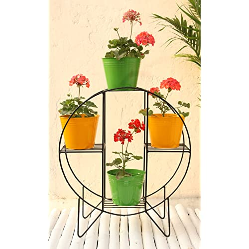 Green Gardenia Iron Hoop Round Pot Stand with 4 Metal Planters (Yellow and Green)