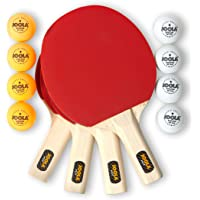 JOOLA All-in-One Indoor Table Tennis Hit Set (Bundle Includes 4 Rackets/Paddles, 8 Balls, Carrying Case)