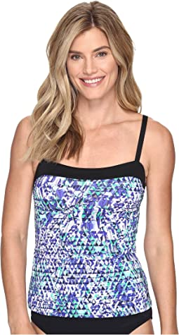 Fracture Bandeau Tankini Top