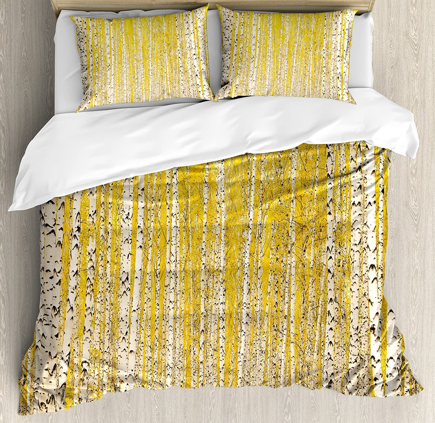 Ambesonne Landscape Duvet Cover Set Forest in Overseas parallel import regular item Birch Autumn Gold Max 87% OFF