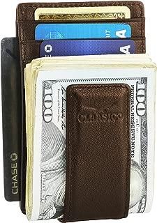 Money Clip Leather Wallet For Men Slim Front Pocket RFID Blocking with Super Strong Magnetic