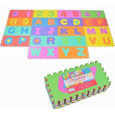 Puzzlestar XXL, Tapis Puzzle de 86 pièces pour Enfants en EVA antidérapant - Le Grand Tapis de Jeu Peut être monté, Chaque pièce est de 30x30x1cm - Tapis Puzzle pour Enfants avec Chiffres et Lettres