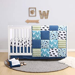 The Peanutshell Crib Bedding Set for a Boy, Girl or Gender Neutral Nursery - Forest Theme Includes 3 Pieces - Baby Quilt, Fitted Crib Sheet, Dust Ruffle