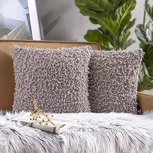 Phantoscope Pack of 2 Luxury Tassel with Shaggy Dots Throw Pillow Covers Soft Velvet Series Decorative Pillow Cases for Couch Bed and Chair, Grey, 18 x 18 inches, 45 x 45 cm