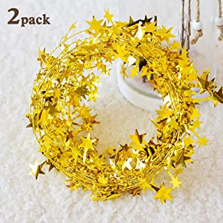 DIYASY Star Wire Garlands 50 FT gold Star Tinsel Garlands for Crafts and Decoration.