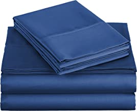 AmazonBasics 400 Thread Count Cotton Sheet Set (Includes 1 Bedsheet, 1 Fitted Sheet with Elastic, 1 Pillow Cover, Twin, Navy)