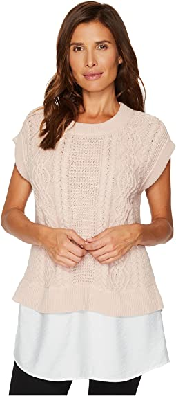 TWO by Vince Camuto - Cabled Pullover with Rumple Shirttail