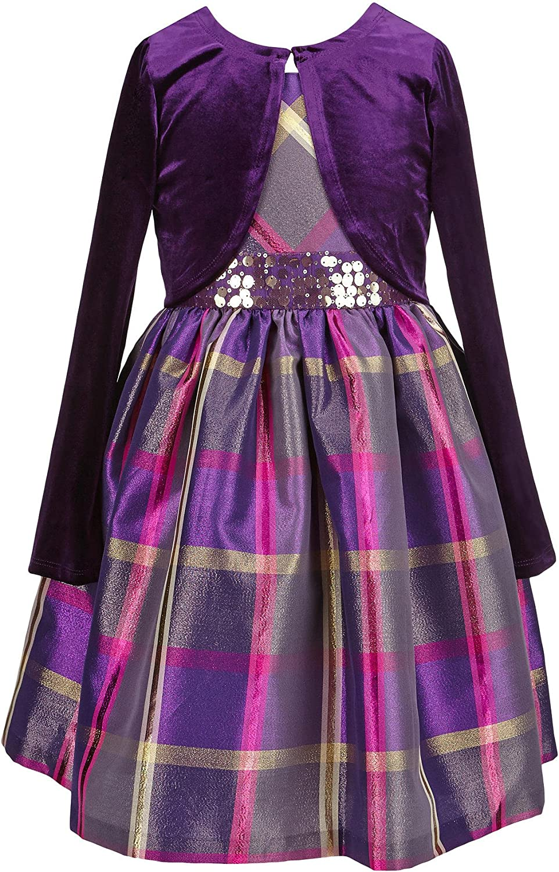 Bonnie Jean Little Girls Sequin Waist Plaid Dress with Cardigan (4T) Purple