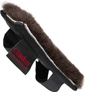 CHRIST Protector para la barbada del Caballo Cobertura de Piel de Cordero Medicinal para la muserola de bocado de la cabezada Disponible en Natural, Gris, marrón o Negro (5x14 o 7x14 cm)