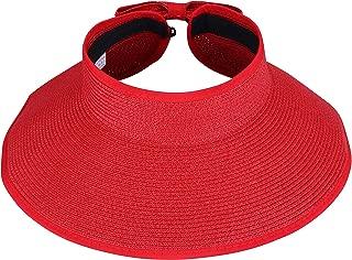 I-MART Roll-up Straw Sun Hat, Wide Brim Packable/Foldable/Adjustable Sun Visor Cap