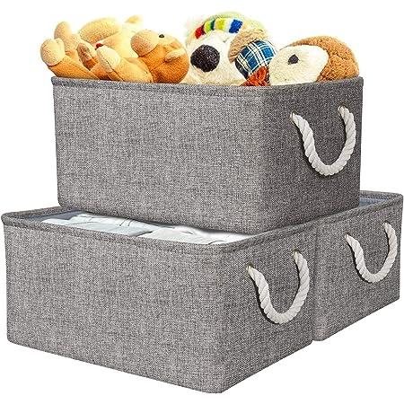 AivaToba Panier de Rangement, Boîte de Rangement en Tissu Gris avec Poignées pour Chambre à Coucher, Organisateur de Maison pour Jouets, Vêtements, Produits de Bureau(3 Paquet)