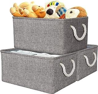 Panier de Rangement, Boîte de Rangement en Tissu Gris avec Poignées pour Chambre à Coucher, Organisateur de Maison pour Jo...