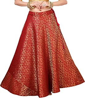 STUDIO Shringaar Women's Benaras Brocade Sangeet Skirt Lehenga Ghaghra (Free Size)