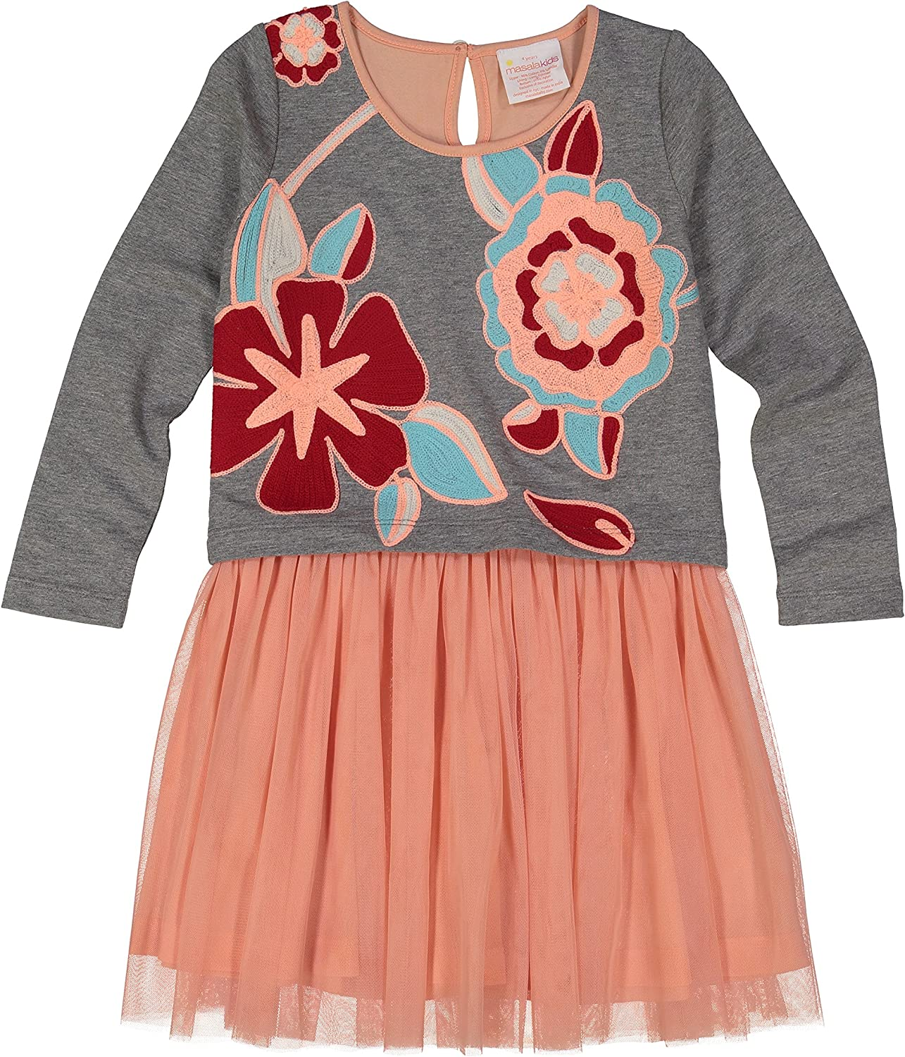 Masala Kids Girls' Little New Free Shipping Charming Fixed price for sale Heather Grey Floral Dress