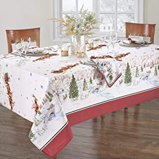 Elrene Home Fashions Santa's Snowy Sleighride Tablecloth, 60
