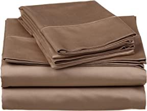 530 Thread Count, 100% Premium Combed Cotton, Single Ply, Split King 5-Piece Sheet Set, Solid, Taupe