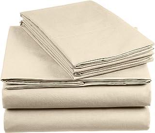 AmazonBasics Everyday - Juego de fundas de edredón nórdico y de almohada (100% algodón) Tapioca - 260 x 240 cm y 2 fundas 65 x 65 cm