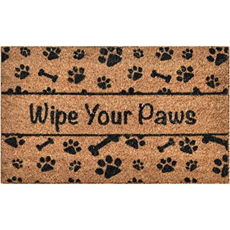 Birdrock Home Wipe Your Paws Coir Doormat 24 X 36 Inch Oversized Welcome Mat With Black Paw Prints And Natural Fade Vinyl Backed Outdoor Kitchen Dining