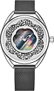 Stuhrling Original Womens Watches with Mother of Pearl Dial with Crystal Flower Ring - Analog Dress Watch 995 Lily Wrist Watches for Women - Ladies Watch Collection