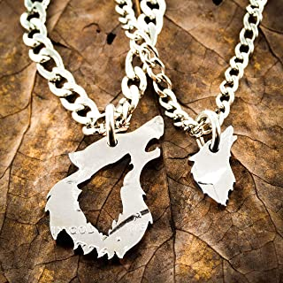 His and her Wolf Necklaces, Couples Relationship Jewelry, Half Dollar, hand cut coin, By NameCoins