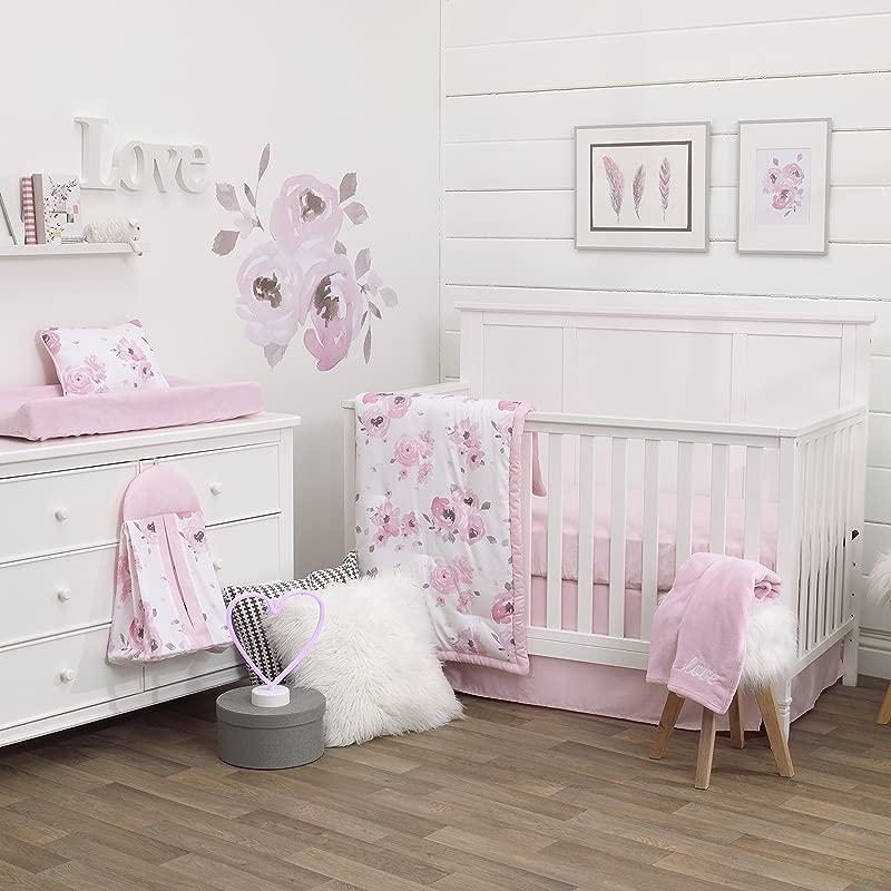 NoJo Dreamer Watercolor Floral 8 Piece Nursery Crib Bedding Set Rose Pink White