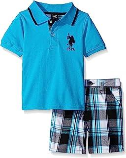 Boys' 2 Piece Big Pony Solid Pique Polo Shirt and Plaid...
