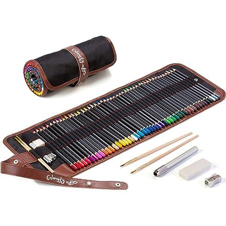 L/ápices de Colores,50 Piezas L/ápices de Dibujo Set,Incluye 2 extensores de l/ápiz y 1 borrador,Para Artistas Profesionales y Principiantes