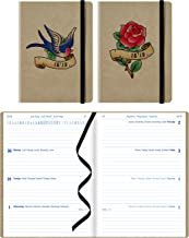 Letts 2018-2019 Ink, Weekly Academic Planner, Sewn Binding Leather Cover, A5 Week to View Diary, August to July, Assorted Designs (C030805-19)
