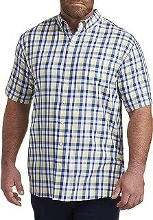 Oak Hill by DXL Big and Tall Medium Plaid Sport Shirt, Pale Banana Heather