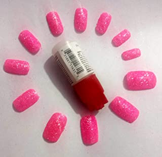 TC 12 Pcs Artificial Neon pink Glitter Nails (Reusable) With Professional Nail Glue Reusable