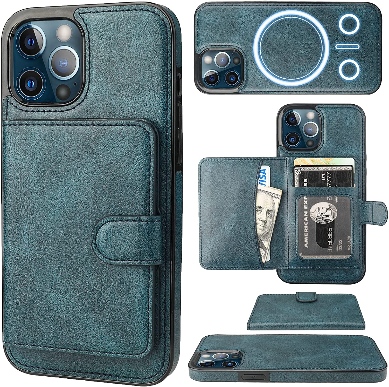 Bocasal Wallet Case for iPhone 12 Pro Max Compatible with MagSafe Magnetic RFID Blocking Detachable Premium PU Leather Flip Case with Card Slots Holder Kickstand Wireless Charging 6.7 Inch (Blue)