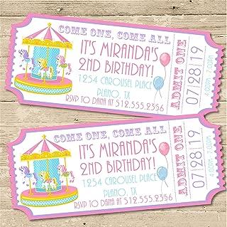 Circus Carousel Birthday Party Ticket Invitations, Carousel Birthday Invitations, Girls Carnival Birthday Party Ticket Invitations, Carousel Party Invitations