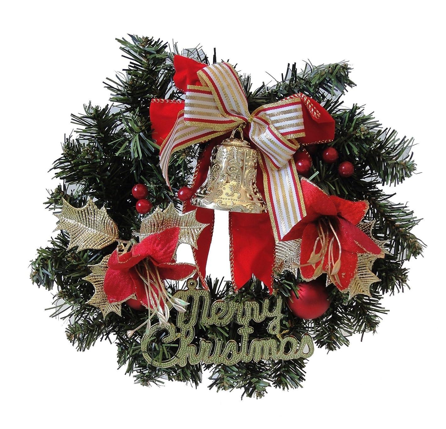 不機嫌そうなかもしれない暴力クリスマスリース ベル リボン 30cm 装飾 玄関 ドア 飾り かわいい インテリアグッズ