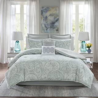 Comfort Spaces Kashmir 8 Piece Comforter Set Hypoallergenic Microfiber Lightweight All Season Paisley Print Bedding, Cal K...